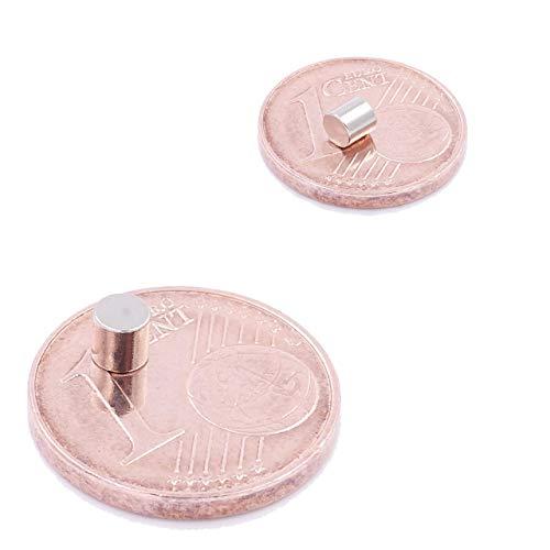 Brudazon   10 Mini Scheiben-Magnete 3x3mm   N52 stärkste Stufe - Neodym-Magnete ultrastark   Power-Magnet für Modellbau, Foto, Whiteboard, Pinnwand, Kühlschrank, Basteln   Magnetscheibe extra stark