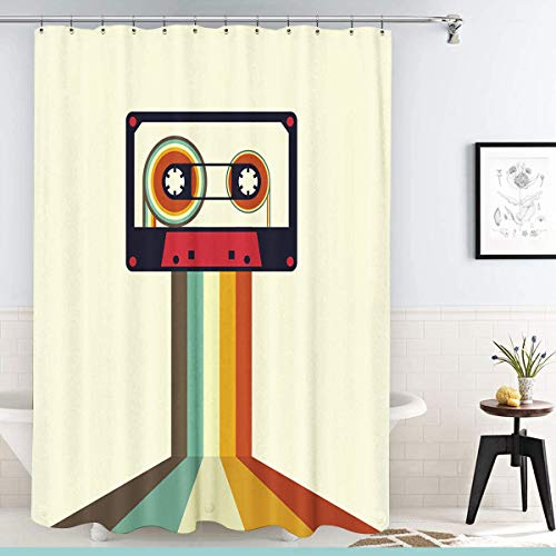 Onete Shower Curtain 60x72 Inches Club Sound Cassette Retro Vintage Style Party Element Textures Fun Sign Stereo Object Audio Disco Bathroom Waterproof Polyester Fabric Bath Decor Set with Hooks Audio Cassette Label Template