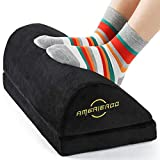 AMERIERGO Adjustable Under Desk Foot Rest - Office Desk Foot Rest with 2 Adjustable Heights, Ergonomic Foot Rest for Back & Knee Pain Relief, Foot Rest Cushion with Fabric Breathable Washable Cover