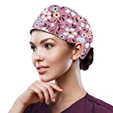 QBA Adjustable Working Cap with Button, Cotton Working Hat Sweatband, Elastic Bandage Tie Back Hats for Women & Men, One Size - Floret Pink