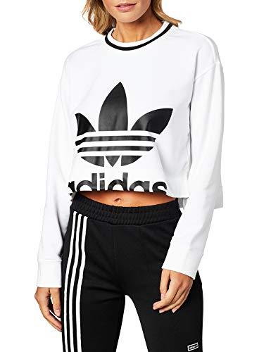 adidas Cropped Sweater Felpa Donna Bianco 42 IT – S (Small)