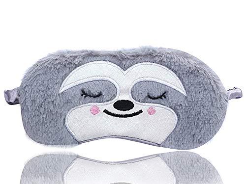 Dodheah Schlafmaske Kinder Frauen Mädchen Augenmaske 3D Süße Einhorn Plüsch Schlafmasken für Reisen Nickerchen Nacht Graues Faultier