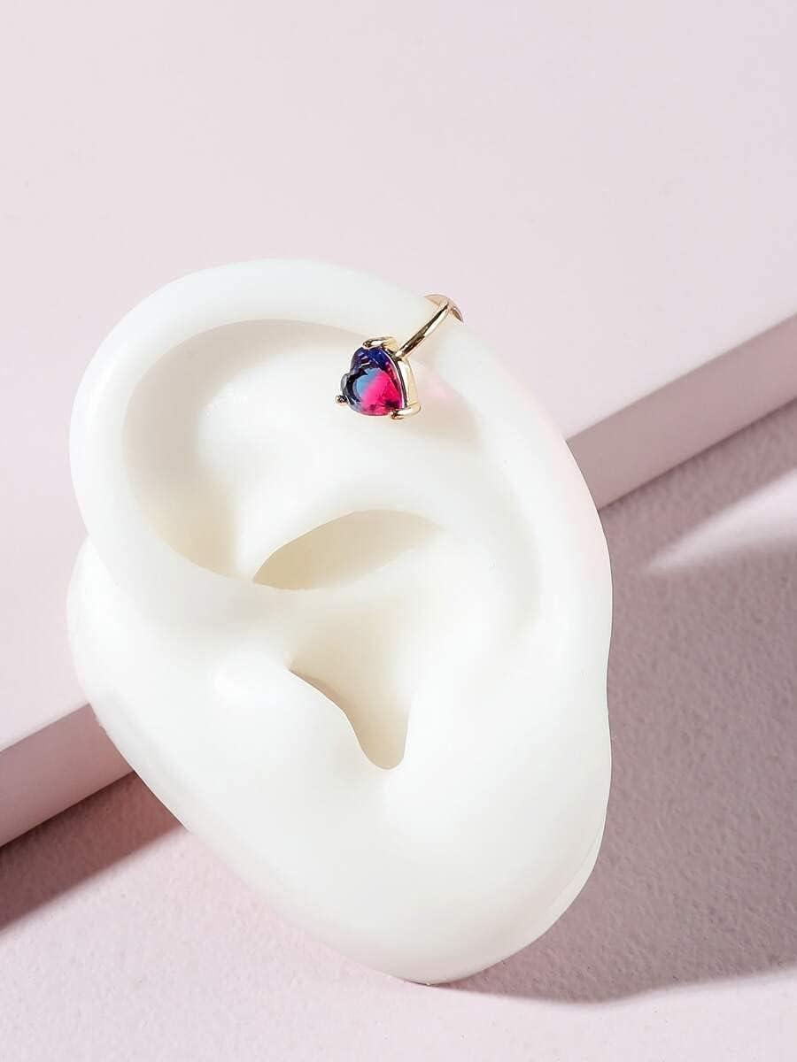 Hoop Earrings 1pc Heart Decor Ear Cuff (Color : Gold)