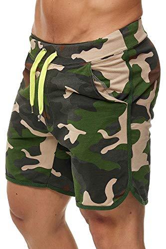 Happy Clothing Kurze Herren Hose Shorts Bermuda Jogginghose Sommer Pants Stoffhose Sweathose, Größe:L, Farbe:Camouflage