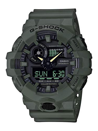 Casio Men's XL Series G-Shock Quartz 200M WR Shock Resistant Resin Color: Matte Olive Green (Model GA-700UC-3ACR)
