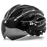 FUNWICT Casco Bici con Occhiali Magnetici LED Luce Casco da Mountain Bike Casco Bici da Strada per Adulto Uomo Donna Casco MTB Leggera 57-61 cm (BKInkWhite)