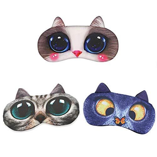 3 Packs Augenmaske Schlafmaske - Daydream Schlafmaske Lustig für Frauen Damen Herren Kinder Mädchen Schönes Katzenset
