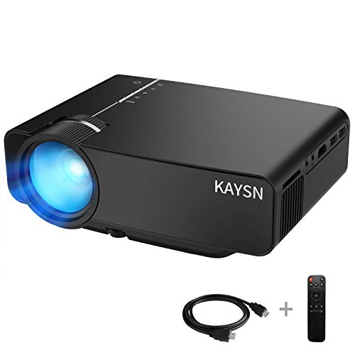 Mini Projector,Supports 200-inch and 1080P Video Projectors,Kaysn 50000 Hours Multimedia Home Theater Movie Projector,Compatible with Fire TV Stick,HDMI,VGA,TF, AV,USB,Laptop and Smartphone