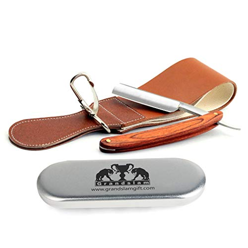 Pro Natural Wooden Handle 420 Steel Straight Razor+2 Layers Leather Canvas Strop