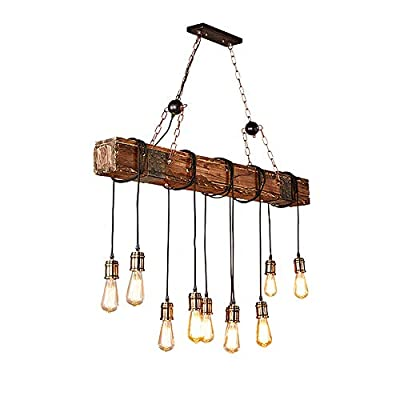 Rustic Color Wood Hanging Multi Pendant Edison Ceiling Beam Light with 10 Lights E26 Bulb Sockets 400W Painted Finish Farmhouse Wooden Retro Industrial Style Home Lighting