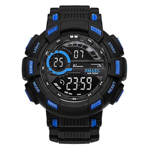 AYDQC Mens Digital Deportes Relojes, Aire Libre 50M Impermeable Reloj, Deporte de Reloj de Pulsera con Alarma Hombres fengong (Color : Black Blue)