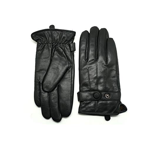 YISEVEN Winter Men's Warm Genuine Lambskin Leather Gloves Skin Tight with Button fur Lined Classical Urban Style Three Point Genuine Lambskin For Dress Driving Motorcycle Work Gifts,Black 9.0