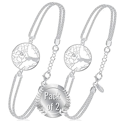 Pulseras Mujer Plata Arbol de La Vida - Pulsera De Ley 925 de Moda con Una Caja | Regalos Originales para Mujeres Pulseras Plata Mujer Ulta Calidad | Joyeria Chica para Cumpleaños - Pack of 2