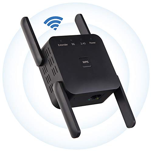 YUIN Amplificador Señal WiFi - Banda Dual 2.4GHz/5GHz 1200Mbps Repetidor de Red WiFi Extensor, Repetidor Inalámbrico con Botón WPS,Admite Modo Ap/Repetidor, Negro