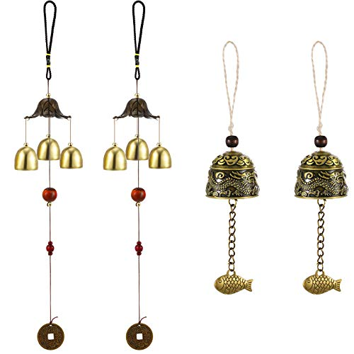 4 Pieces Lucky Wind Chime Chinese Feng Shui Metal Bell...