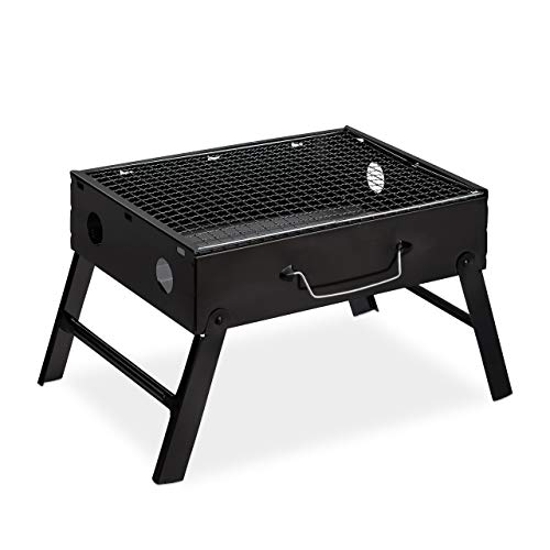 Relaxdays kofferbarbecue voor 4 personen, inklapbaar, stalen reisgrill opvouwbaar, h x b x d: 23 x 42,5 x 26,5 cm, zwart