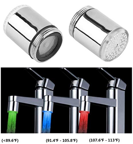 Cara 3 Color LED Light Changing Glow Temperature Sensor Shower Stream Water Faucet Tap for Kitchen Bathroom (2 PCS)