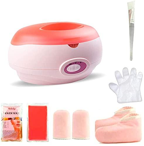 Calentador de parafina Baño de parafina Calentar muy Rápido Calentador de Parafina para Manos y Pies Juego botines aguantes+parafina (KIT-Rosa)