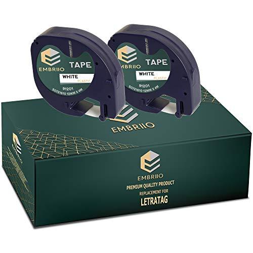 EMBRIIO 91201 S0721660 | 2 Kassetten Etiketten Schriftband Ersatz für Dymo LetraTag LT-100H LT-100T LT-110T QX50 XR XM 2000 Plus | Schwarz auf Weiß | 12 mm x 4 m | Kunststoff