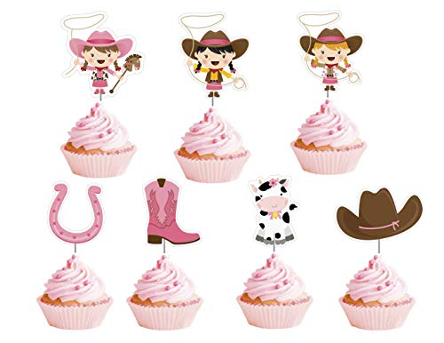 Cowgirl Cupcake Toppers 12 pcs - Cowgirl Party Supplies - Cowgirl Baby Shower Cupcake