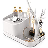 Conbola Jewelry Holder Organizer with Ring Display Stand & Removable Storage Box (White)