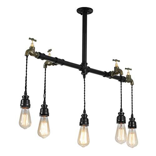 Lámpara de araña de Granja de 5 Cabezas, luz de Techo Negra en tubería de Agua de Cobre Vintage, Colgante Industrial de Isla para Comedor, Cocina, vestíbulo