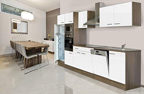 respekta inbouw keuken blok 340 cm eiken York imitatie wit oven Ceran magnetron vaatwasser koelkast
