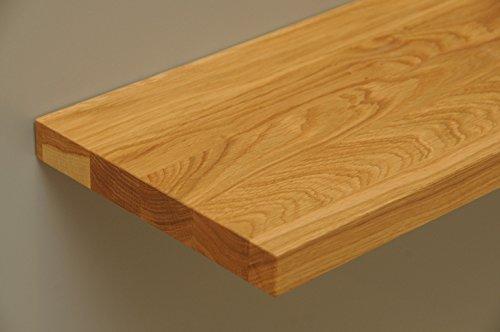 Wandbord Wandboard Livingboard Regal massiv Holz mit verdeckten Trägern - Verschiedene Holzarten wählbar - Tiefe:20cm Dicke:25mm (Eiche, 80,01cm)