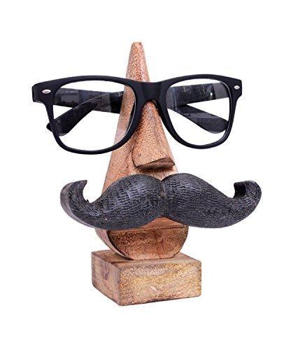 Store Indya, Witty intagliato a mano Supporto per occhiali di legno con un divertente baffi decorativo domestico