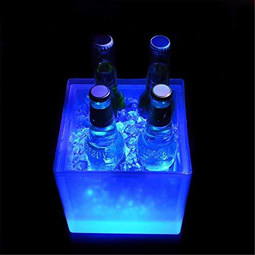 XWSM Enfriador De Bebidas para Cubos De Hielo, 7 Colores, Led Luminoso, Acrílico, para Cubos De Hielo, Enfriador De Bebidas para Fiestas, para Cerveza, Vino, Champán, para KTV Party Bar, Bodas
