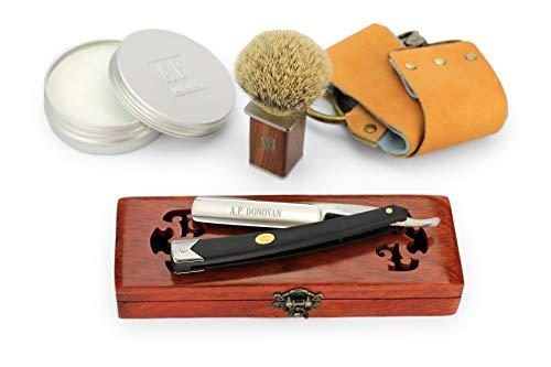 A.P. Donovan – Rasiermesser Set | 7/8 Zoll mit schwarzem Kunststoffgriff | Bartpflege Set für Männer mit Pinsel, Seife, Streichriemen und Rasiermesser