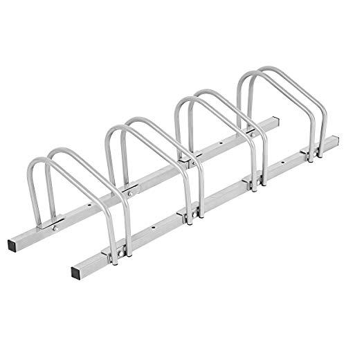 DREAMADE Fahrradständer für 4 Fahrräder, Mehrfachständer für Reifenbreite bis 55mm, Boden- und Wandmontage, freistehender Aufstellständer Metall, Bodenparker für Mountainbikes, Rennrad, Bike Stand