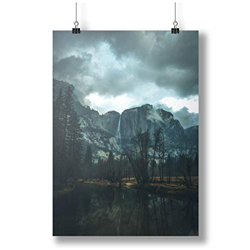 INNOGLEN Tall Waterfall in The Mountains, Lake A0 A1 A2 A3 A4 Satin Foto Poster a3703h