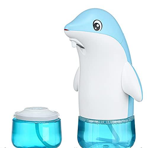 dispensador jabon,Dispensador de jabón de espuma de inducción inteligente, teléfono móvil doméstico recargable para niños, delfín azul (una botella de desinfectante de manos + enchufe)