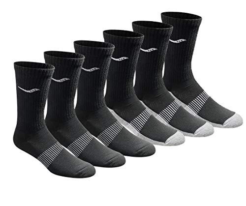 Saucony Men's 6 Pairs Run Dry Athletics Crew Socks, Black (6 Pairs), Shoe Size: 8-12