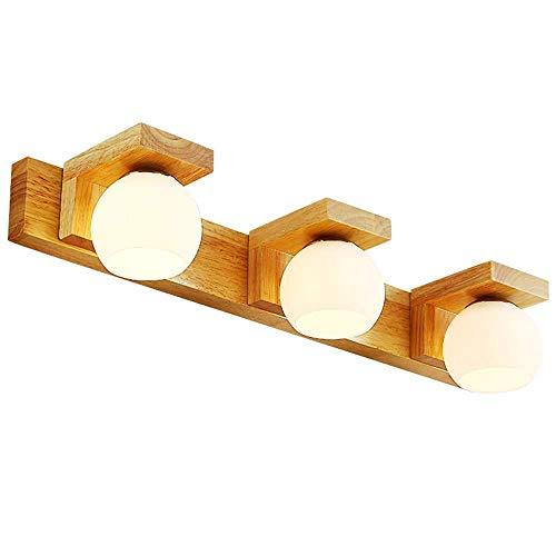 NBVCX Haushaltsteile Badezimmereitelkeitsleuchten - Gummiholz mit milchweißem Globus Glasschirm Wandleuchten - Moderne Wandstange Wandleuchte/Spiegelfrontleuchte (Größe: 3 Leuchten)