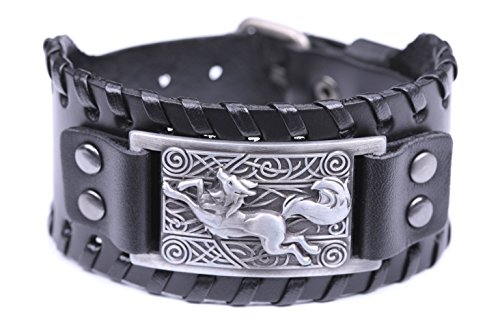 fishhook Celtic Knot Fox Smart Symbol Bangle Talisman Amulet Leather Bracelet (Antique Silver,Black)