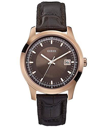 GUESS Reloj Analógico para Hombre de Cuarzo con Correa en Piel W0250G2