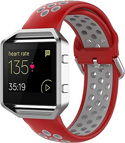 Gransho Correa de Reloj Compatible con Fitbit Blaze, Silicona Correa Reloj con Acero Inoxidable Hebilla desplegable (Pattern 9)