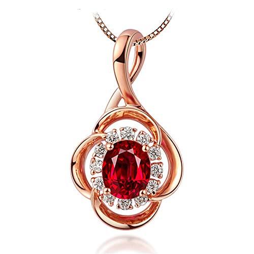 QWJ Collar colgante de flores para mujer chapado en oro rosa rubí colgante joyería de plata