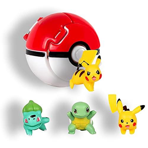 HONGECB Action Figure Poke Ball, Cartoon Mini Figurine, Mini Giocattoli e ball, Plastic Anime Pokeball Figure, per Bambini e Adulti Festa Celebrazione Divertente Giocattolo Regalo, 4+1 Pezzi