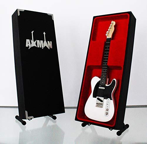 Miniatur Gitarre Replica: Weiß Telecaster & Display Ständer–Modell Mini Rock Kuriositäten Nachbildung Holz Miniatur-Gitarre & Display Gratis Ständer (UK Verkäufer)