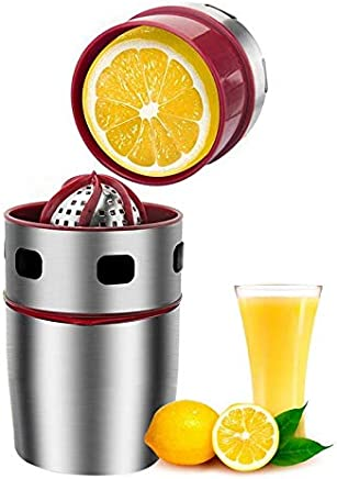 Lesgos Citrus Juicer,Stainless Steel Orange Juicer Lemon Squeezer,Portable Manual Juicer Rotation Squeezer for Oranges,Lemons Citrus Fruit,Fast Easy and Clean to Get Original Healthy Juice