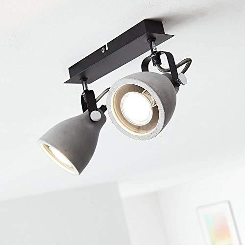 Lightbox LED Deckenstrahler, dimmbar, 2-flammig, Spotbalken LED Deckenleuchte schwenkbar, GU10 Fassung für max. 5 Watt, Metall, Beton Grau