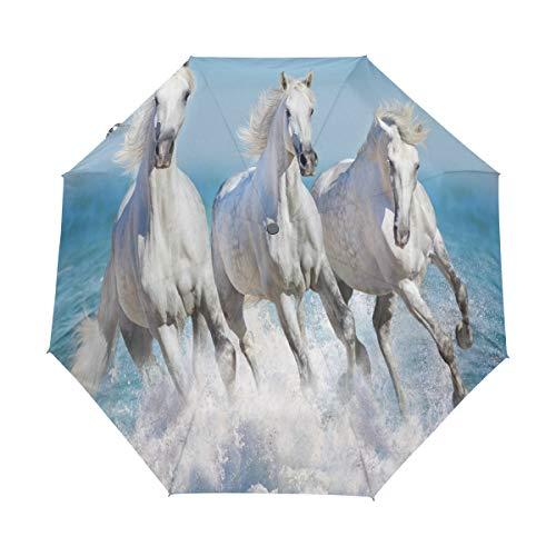 Bigjoke Regenschirm, 3-Fach faltbar, automatisch, mit niedlichem Pferde-Muster, Winddicht, leicht, kompakt für Jungen, Mädchen, Männer, Frauen