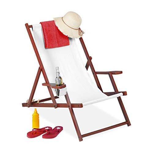 Relaxdays Liegestuhl Tumbona Plegable de Madera y Tela, 3 Posiciones, con reposabrazos y Soporte para Bebidas, 120 kg, Color...