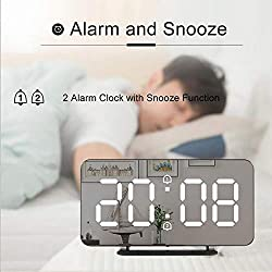 Digital Alarm Clock LED Clock Multifunctional Mirror Time Night LCD Table Light Office USB Cable,as Show