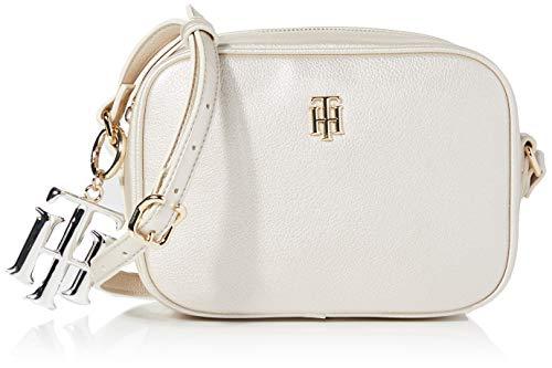 Tommy Hilfiger Damen Th Chic Camera Bag Metallic Umhängetasche Weiß (Silver)