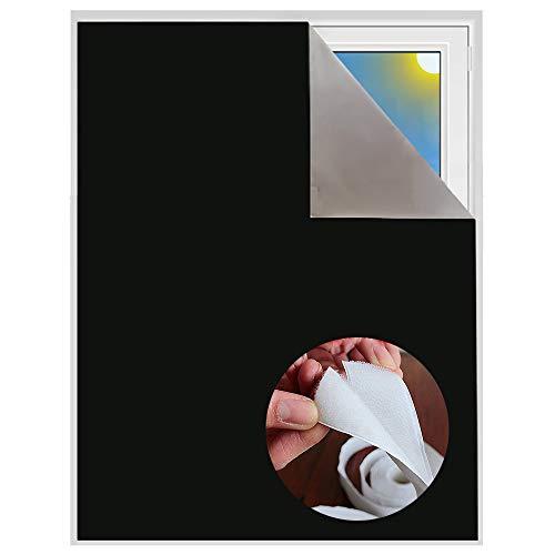 Verdunklungsstoff inkl. Selbstklebendem Klettband | Sonnenschutz zu 100% verdunkelnd | Folie mit Thermobeschichtung | Meterware für Fenster und Dachfenster lichtundurchlässig (Schwarz mit Klettband)