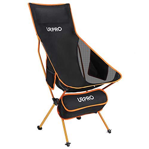 URPRO Outdoor Upgraded Camping Chair Tragbare leichte Klappstühle mit Kopfstütze und beidseitiger Tasche mit hoher Rückenlehne für Outdoor-Rucksacktouren Wandern Reisen Picknick Angeln